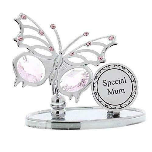 CrystoCraft Special Mum Chrome Plated Butterfly with Swarovski Crystals